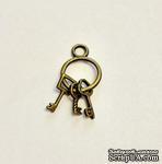 """Металлическое украшение """"Связка ключей"""", античное золото, размер 27х12 мм, 1 шт. - ScrapUA.com"""