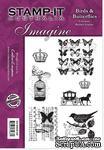 Набор резиновых штампов от Crafter's Companion - Birds & Butterflies, 7 шт. - ScrapUA.com