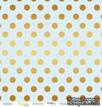"""Лист односторонней бумаги с золотым тиснением от Scrapmir - """"Golden Dots Blue"""" из коллекции Every Day, 30x30 см - ScrapUA.com"""