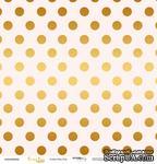 """Лист односторонней бумаги с золотым тиснением от Scrapmir - """"Golden Dots Pink"""" из коллекции Every Day, 30x30 см - ScrapUA.com"""