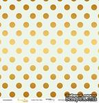 """Лист односторонней бумаги с золотым тиснением от Scrapmir - """"Golden Dots Mint"""" из коллекции Every Day, 30x30 см - ScrapUA.com"""