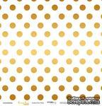 """Лист односторонней бумаги с золотым тиснением от Scrapmir - """"Golden Dots White"""" из коллекции Every Day, 30x30 см - ScrapUA.com"""