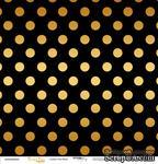 """Лист односторонней бумаги с золотым тиснением от Scrapmir - """"Golden Dots Black"""" из коллекции Every Day, 30x30 см - ScrapUA.com"""