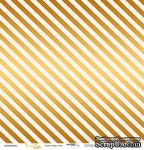 """Лист односторонней бумаги с золотым тиснением от Scrapmir - """"Golden Stripes Pink"""" из коллекции Every Day, 30x30 см - ScrapUA.com"""