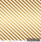 """Лист односторонней бумаги с золотым тиснением от Scrapmir - """"Golden Stripes White"""" из коллекции Every Day, 30x30 см - ScrapUA.com"""