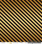 """Лист односторонней бумаги с золотым тиснением от Scrapmir - """"Golden Stripes Black"""" из коллекции Every Day, 30x30 см - ScrapUA.com"""