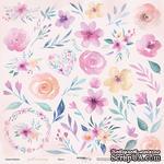 Лист двусторонней бумаги от Scrapmir - Цветы из коллекции Gentle Morning, 30х30см - ScrapUA.com