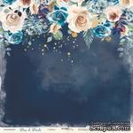 Лист односторонней бумаги с золотым тиснением от Scrapmir - Глубина из коллекции Blue & Blush, 30x30 см - ScrapUA.com