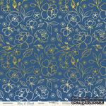 Лист односторонней бумаги с золотым тиснением от Scrapmir - Цветики из коллекции Blue & Blush, 30x30 см - ScrapUA.com