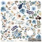 Лист односторонней бумаги для вырезания от Scrapmir - Цветы из коллекции Blue & Blush, 30x30 см - ScrapUA.com