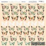 """Лист двусторонней бумаги от Scrapmir - """"Бабочки"""" из коллекции Peaches & Cream, 20х20см - ScrapUA.com"""