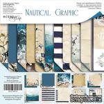 Набор двусторонней бумаги от Scrapmir - Nautical Graphic, 20х20см , 11шт - ScrapUA.com