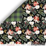 Лист двусторонней бумаги от Scrapmir - Пуансетия - Merry Christmas, 30x30см - ScrapUA.com