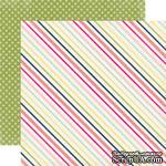 Двусторонний лист бумаги от Echo Park - Sunny Stripe, 30,5x30,5см - ScrapUA.com