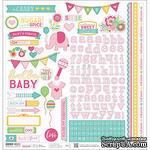 Наклейки от Paper House - Hello Baby Cardstock Stickers - Pink Girl, 30x30 см - ScrapUA.com