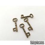 Металлический ключик (накладка), цвет античная бронза, 12х34мм - ScrapUA.com
