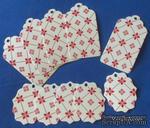 """Набор тэгов из  белого картона с красным принтом  """"Орнамент с ромбами"""", 260 г/м2, 10 штук, 85х45мм и 55х45мм - ScrapUA.com"""