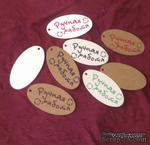 """Набор овальных белых тэгов """"Ручная работа"""", 10 шт.: 85х45 мм, цвет надписи на выбор - ScrapUA.com"""