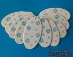 """Набор тэгов из  белого картона с синим принтом  """"Снежинки"""", 260 г/м2, 10 штук, 85х45мм - ScrapUA.com"""
