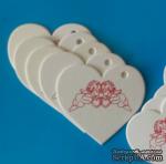 Набор белых тэгов из пивного картона в форме сердечек с ангелочками, 10 шт.: 65х60х1,5мм, цвет красный - ScrapUA.com