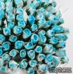Буточники розы, цвет голубой с белым, диаметр - 4мм, 10 шт. - ScrapUA.com