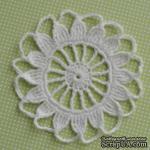 Вязаная салфетка ручной работы, цвет белый, диаметр 9,5см  - ScrapUA.com