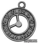 """Металлическое украшение """"Часики"""", античное серебро, размер 21х18 мм, 1 шт - ScrapUA.com"""