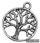 """Металлическое украшение """"Дерево"""", античное серебро, размер 24х20 мм, 1 шт - ScrapUA.com"""