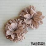 Винтажные тканевые цветочки от Maya Road - Antique Mocha, цвет бежевый, 2 шт. - ScrapUA.com