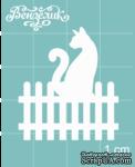 Чипборд от Вензелик - Котик на заборе, размер: 30x34 мм - ScrapUA.com