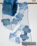 Лента с цветами - FLOWERS/PEARL CENTER/WIRED - голубая, ширина - 38 мм, длина 90 см - ScrapUA.com