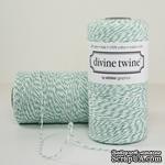 Хлопковый шнур от Divine Twine - Aqua, 1 мм, цвет бирюза/белый, 1 м - ScrapUA.com