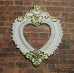 """Гипсовая рамочка от Е.В.А  - """"Сердце"""" белая с золотыми узорами, 7х5.8 см - ScrapUA.com"""