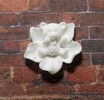 Мишка в цветке, пластиковое украшение от Е.В.A, цвет белый, 2смх2,3см - ScrapUA.com