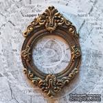 Гипсовая рамочка от Е.В.A - Круглая, под античное золото, 8.7х5.7см, 1 шт. - ScrapUA.com