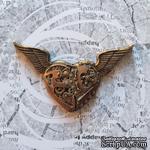 """Гипсовое украшение  от Е.В.A - """"Механическое сердце в стиле """"стимпанк""""  под античное золото, 7см, 1 шт. - ScrapUA.com"""