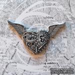 """Гипсовое украшение от Е.В.A - """"Механическое сердце в стиле """"стимпанк"""" с патинированием, 7см - ScrapUA.com"""