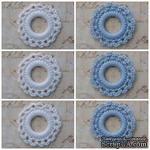 Вязаный мотив от Allmacraft - фишки ажурные в наборе, белые и голубые, 3.5 см, 6 штук - ScrapUA.com