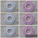 Вязаный мотив от Allmacraft - фишки ажурные в наборе, белые и розовые, 3.5 см, 6 штук - ScrapUA.com