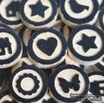Набор украшений от Maya Road - Wood Bingo Motifs, цвет черный, размеры: 1.5см диаметр; 0.6см высота, 30 шт. - ScrapUA.com