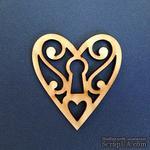 Деревянная фигурка WOOD-065 - Ажурное сердце, 1 штука - ScrapUA.com