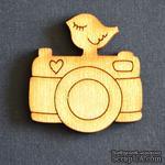 Деревянная фигурка WOOD-100 - Фотоаппарат с птичкой, 1 штука - ScrapUA.com
