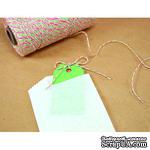 Хлопковый шнур от Divine Twine - Watermelon, 1 мм, цвет арбуза (белый, красный, зеленый), 1м - ScrapUA.com