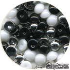 Капли металлик The Robin's Nest Dew Drops - Black/white/silver Metallic mix, 6 мм, 250-270 шт - ScrapUA.com