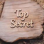 """Деревянная вырубка от Вензелик - Надпись """"Top Secret"""", 115x34 мм - ScrapUA.com"""