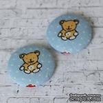 Тканевые топсы от  Allmacraft - серия Детские, Мишка, диаметр 2,5 см, 2 штуки - ScrapUA.com