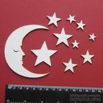 Чипборд от Вензелик - Луна и звезды, размер набора: 90*130 мм - ScrapUA.com