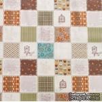 Хлопок сатинового переплетения Веселые квадратики 5х5 см (Корея) - коричневые, 45х55см - ScrapUA.com
