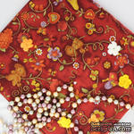 Хлопок фоновый, Растительные элементы, бордовые крупные, 45х55 см - ScrapUA.com