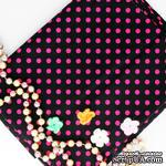 Хлопок, черный в розовый горошек, 45х55 см - ScrapUA.com